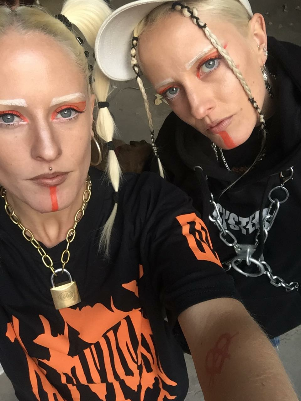 Me n sis wearing The End is Near threads and wolfie chains. Make-up by Lisa Mulas.