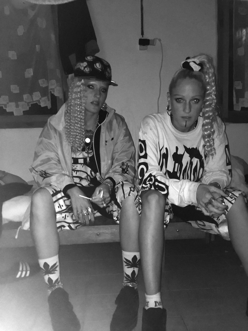 Us chilling in the acid techno bunkbed cabin at 3am before going on stage. Wearing our trusty Hyde Fast and The End Is Near get up (two of our fav designers ;)
